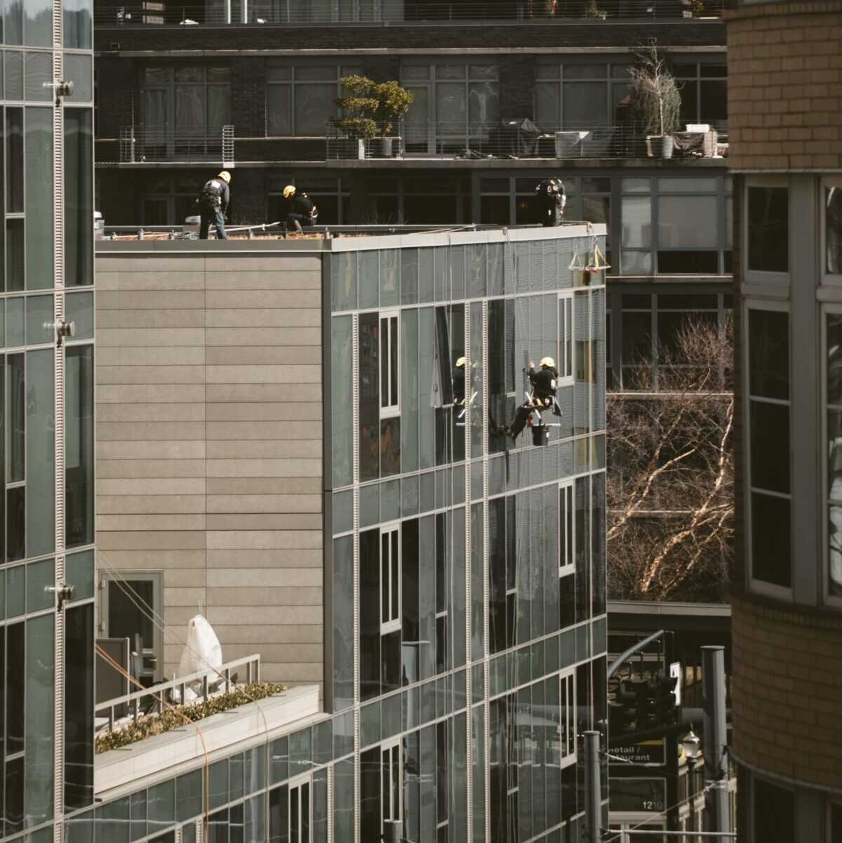 group of people working on a building